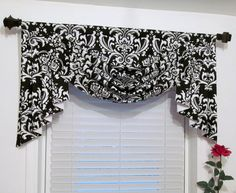 Swag and Jabots Classic Window Treatments Black & White Damask Handmade in the USA- Jessica Conlan- Bathroom Window Treatments, Valance Window Treatments, Bathroom Windows, Window Coverings, Window Pelmets, Swag Ideas, Classic Window, White Subway Tiles, Coffee Theme