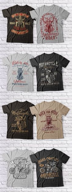 Introducing a Motorcycle theme t-shirts set! Here you'll find illustrations of chopper motorcycle in three views and skeleton on motorcycle. Chopper Motorcycle, Motorcycle Design, Biker T Shirts, Motorcycle T Shirts, Outlaw Racing, Car Themes, Muscle Cars, Shirt Designs, Mens Fashion