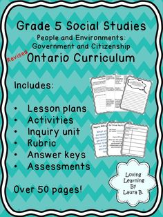 Grade 5 Ontario Social Studies Government Unit and Inquiry Everything you need to teach the Government and Citizenship strand of the Ontario Social Studies Curriculum. Lesson plans, activities with answer keys, inquiry project, and test. Ontario Curriculum, Social Studies Curriculum, Social Studies Notebook, Social Studies Classroom, Social Studies Activities, Teaching Social Studies, Student Learning, History Education, Teaching History