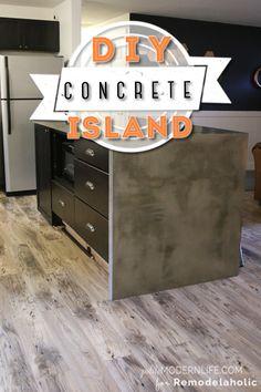 DIY Concrete Kitchen Island Reveal + How-To (Remodelaholic) Fixer Upper Style, Diy Waterfall, Waterfall Countertop, Table Ikea, Cocina Diy, Beton Diy, Concrete Color, Diy Kitchen Island, Kitchen Reno