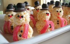 rice krispy snowman Would be cuter with a bugle dipped in red chocolate candy melts then dipped in white sprinkles for hat.