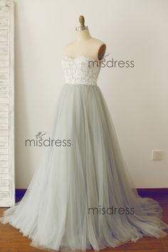 Strapless Sweetheart Ivory Lace Silver Grey Tulle Ball by misdress