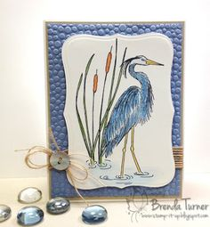 Wonderful blue heron card created by Brenda Turner. Rubber stamp by Repeat Impressions. - http://www.repeatimpressions.com - #repeatimpressions #rubberstamps #rubberstamping  #cardmaking
