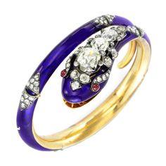 Vintage Jewelry: Antique diamond and blue enamel snake bangle, circa 1870 Snake Bracelet, Snake Jewelry, Animal Jewelry, Bangle Bracelets, Jewelry Box, Jewelry Accessories, Fine Jewelry, Jewelry Design, Bangles