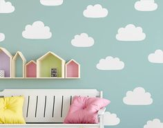 Cloud Wall Decals  Hand Drawn Cloud Decals Nursery Wall