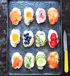 Wow great snack idea! smoked salmon, cream cheese, cucumbers, strawberries, egg, blueberries, radish, greens and more!