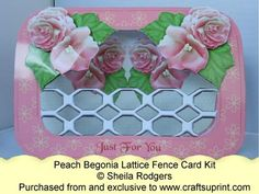 Lattice Fence Card - Peach Begonia
