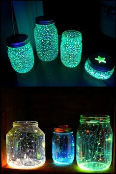 Learn how to make glow in the dark jars! Nice especially once you have turned off their lights for bedtime.