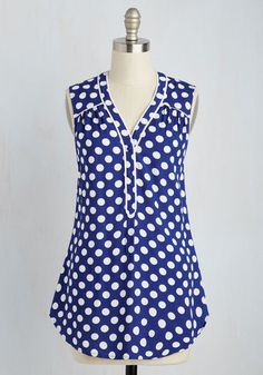 Cafe Au Soleil Top in Blue Dots by ModCloth - Blue, White, Polka Dots, Print, Buttons, Work, Nautical, Strapless, Spring, Woven, Good, Exclusives, Variation, Private Label, V Neck, Long, SF Fit Shop