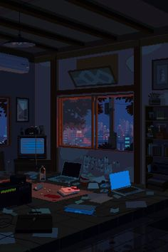 Moderne Stillleben: Pixel-Art-Gifs von Waneella You are in the right place about beautiful GIF Here we offer you the most beautiful pictures about the GIF estrellas you are looking for. Aesthetic Anime, Aesthetic Art, Night Aesthetic, Aesthetic Bedroom, Gifs, Cyberpunk, Arte 8 Bits, 8bit Art, Graphisches Design