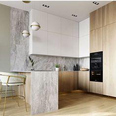 60 Creative U Shaped Kitchen Remodel Ideas - addison news Home Decor Kitchen, Interior Design Kitchen, Modern Interior Design, New Kitchen, Kitchen Ideas, Kitchen Time, Kitchen Hacks, Kitchen Unit, Island Kitchen
