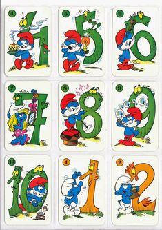Barajas y Naipes: El juego de los PitufoNúmeros Alphabet, File Folder Activities, Bottle Top, Color Crafts, Math For Kids, Disneyland, Disney Pixar, Coloring Pages, Mickey Mouse