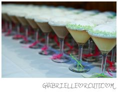 Cupcakes baked in martini glasses...doubles as favors! @Mandy Kristensen