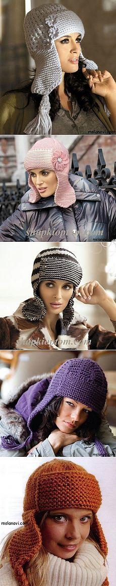 Модные шапки-ушанки спицами   Вяжем с Лана Ви