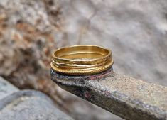 Gold Wedding Band, Wedding Band Women, Boho Wedding ring, Solid gold ring, Wedding Band Men, Rustic