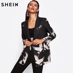 Crane Bird Print Boxy Blazer Woman Blazer Black Shawl Collar Single Button Boyfriend Blazer