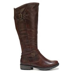 Exude timelessly elegant style in the Sabio Wide Calf Riding Boot from BareTraps.Faux leather upper in a knee-high riding boot style with a round toe Fashionable buckle and strapsElastic goring on backFull-length inside zipperSmooth lining with a cushioning insole TPR outsole
