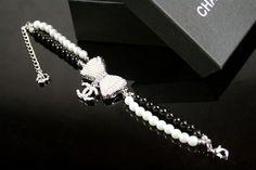white pearl, jewel, chanel life, bow bracelet, pearl bracelets, chanel design, bows, chanel bow, chanel black