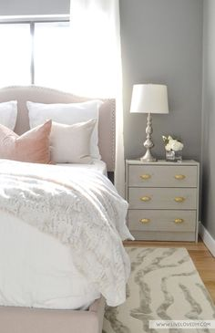 Pink, grey, & gold bedroom