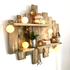 Painting / Nature Wooden Wall Shelf - ZEN by WoodAixpo Tableau / Étagère murale en bois de palette NATURE & ZEN by WoodAixpo Wooden Pallet Wall, Pallet Wall Shelves, Wood Wall Shelf, Wooden Pallets, Wooden Shelves, Pallet Walls, Pallet Couch, Wood Walls, Room Shelves
