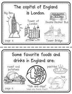 England Booklet (a country study! English Primary School, English Classroom, Teaching English, Geography For Kids, World Geography, English Day, Learn English, London With Kids, World Thinking Day