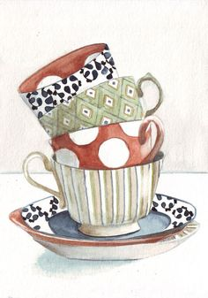 Original watercolor painting tea cups stacked patterns by HelgaMcL,