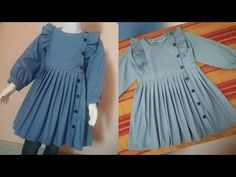 Winter Frock Cutting - Source by - Girls Dresses Sewing, Stylish Dresses For Girls, Stylish Dress Designs, Dresses Kids Girl, Kids Outfits, Girls Frock Design, Baby Dress Design, Baby Girl Frocks, Frocks For Girls