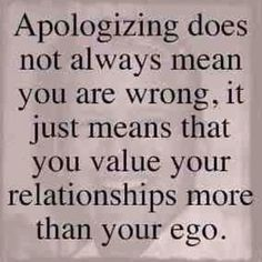 Apologizing.