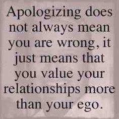 Apologizing.