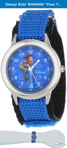 "Disney Kids' W000066 ""Time Teacher"" Toy Story 3 Woody Stainless Steel Watch. Keep track of time with this officially licensed Disney stainless steel kid's time teacher watch by ewatchfactory on your wrist. The timepiece displays artwork from your favorite Disney character on the face, and is designed with labeled ""hour"" and ""minute"" hands to help young ones learn how to tell time. This classic watch has a polished and matte steel finish and a precision Japanese movement for accurate time.."