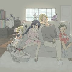Momynette and dadrien!!!! Louis, Emma and Hugo - I know there's no way Louis have a olive green hair but I count on marinette's imagination in stormy weather episode to make the chars - Hope you like it!!!!