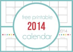 Free printable 2014 calendar I Heart Nap Time