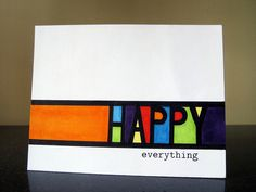 One Layer Simplicity Challenge: Colorful Words | Experiments With Card Making Etc