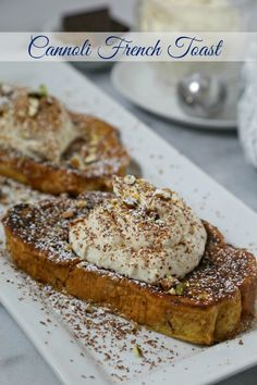 Cannoli French Toast from has the flavors of the classic Italian dessert & is perfect for brunch. Cinnamon soaked French toast is dolloped with a citrus scented cannoli filling and then garnished with a bit of chocolate and pistachios for the ultimate dec Italian Breakfast, Best Breakfast, Breakfast Toast, Breakfast Potatoes, Breakfast Muffins, Mini Muffins, Italian Desserts, Italian Recipes, Cannoli Filling