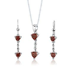 Sterling Silver Rhodium Finish 2.00 carats total weight Heart Shape Garnet Pendant Earrings and 18 inch Necklace Set . $39.99