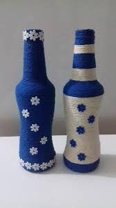 Beautiful Models To Inspire You Bottle Top Crafts, Wine Bottle Art, Diy Bottle, Yarn Bottles, Recycled Glass Bottles, Wine Craft, Bottle Painting, Jar Crafts, Bottle Design