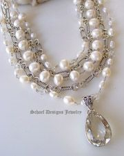 White pearls clear crystal quartz & sterling silver David Yurman style figaro chain 5 strand designer bib necklace with white druzy & opal cross pendant | Signature Collection | online upscale designer jewelry gallery boutique | Schaef Designs designer gemstone jewelry | Couture Signature Collection |New Mexico