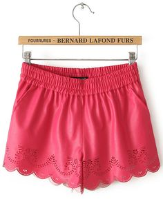 Rose Red Elastic Waist Hollow PU Leather Shorts US$22.46