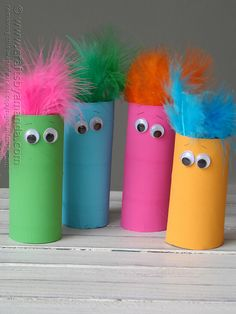 toilet paper funny faces - Paint toilet papers rolls glue on colorful feathers and of course the googly eyes.  Just another fun creature to play with around the house.