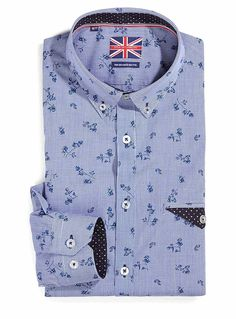 Exclusively from Le 31 for men     Elegant blue optical plaid accented with abstract flowers   Semi-tailored fit   Button-down collar   Contrasting underside   Cotton and polyester poplin for a great fit