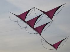 The bowed-rod bracing of this multi-sailed kite somehow contributes to it's looks in the air. Making for a more interesting sight. T.P. (my-best-kite.com) Kite Surf, Kite Making, Kite Designs, Stunt Kite, Surface Design, More Fun, Projects To Try, Bows, Artist