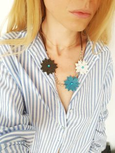 Daisy Necklace, Leather Floral Necklace, Leather Flowers, Boho Jewelry, Statement Necklace, Women Gift, Turquoise Blue, Long Leather Bib