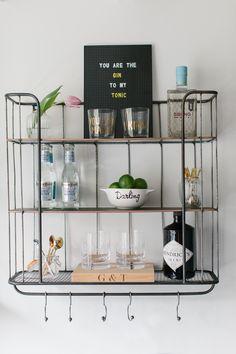 kitchen Bar Shelves - How To Create The Perfect Gin Shelf Bar Cart Alternative. Gin Bar, Bar Cart Decor, Bar Shelves, Bar Chairs, Dining Chairs, Dining Decor, Room Chairs, Bars For Home, Decoration