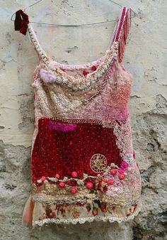 Strawberries and champagne---bohemian romantic hand embroidered and beaded top, wearable art, textile collage