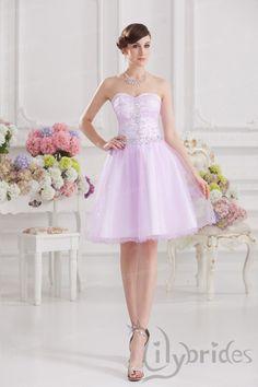 Princess Sweetheart Satin Organza Short/Mini Length Lace-up Homecoming Dress