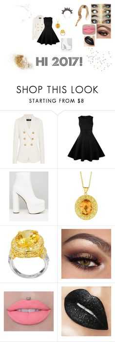 """""""Hi 2017!"""" by teanster123 ❤ liked on Polyvore featuring Balmain, Public Desire, BillyTheTree and De Buman"""