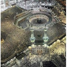 Incredible view of the Prayers at the Holy Mosque - Makkah - Saudi Arabia - october 2013