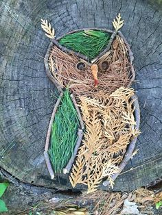 Land art owl made entirely from natural materials Kids Crafts, Fall Crafts, Arts And Crafts, Land Art, Art Et Nature, Nature Crafts, Forest School Activities, Art Activities, Forest Art