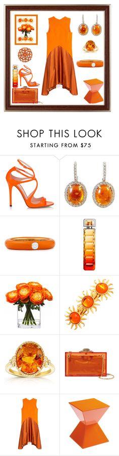 """Stylish Blood Orange Set"" by mcronald-denise ❤ liked on Polyvore featuring Jimmy Choo, Adolfo Courrier, HUGO, Lux-Art Silks, Kobelli, Charlotte Olympia, Narciso Rodriguez, Sunpan and NOVICA"