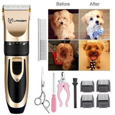 11 PCS Quiet Mute Low-noise Professional Grooming Kit Electric Clipper Shaver Set for Pet Cat Dog Hair+Nail Clipper+Comb+Nail File+Scissors Stainless Dog Grooming Clippers, Grooming Kit, Pet Dogs, Dog Cat, Dog Fails, Nose Hair Trimmer, Buy Pets, Cat Hair, Your Pet